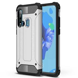King Kong Armor Premium Shockproof Dual Layer Rugged Hard Cover for Huawei P20 Lite(2019) - White