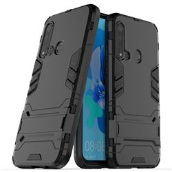 Armor Premium Tactical Grip Kickstand Shockproof Dual Layer Rugged Hard Cover for Huawei P20 Lite(2019) - Black