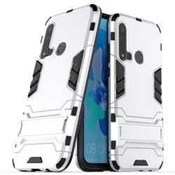 Armor Premium Tactical Grip Kickstand Shockproof Dual Layer Rugged Hard Cover for Huawei P20 Lite(2019) - Silver