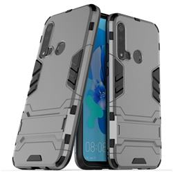 Armor Premium Tactical Grip Kickstand Shockproof Dual Layer Rugged Hard Cover for Huawei P20 Lite(2019) - Gray