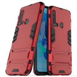 Armor Premium Tactical Grip Kickstand Shockproof Dual Layer Rugged Hard Cover for Huawei P20 Lite(2019) - Wine Red