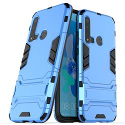 Armor Premium Tactical Grip Kickstand Shockproof Dual Layer Rugged Hard Cover for Huawei P20 Lite(2019) - Light Blue