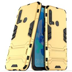 Armor Premium Tactical Grip Kickstand Shockproof Dual Layer Rugged Hard Cover for Huawei P20 Lite(2019) - Golden
