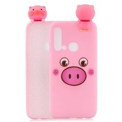 Small Pink Pig Soft 3D Climbing Doll Soft Case for Huawei P20 Lite(2019)