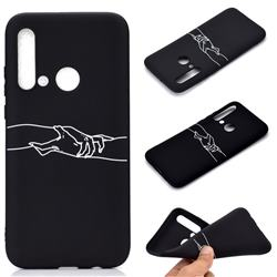 Handshake Chalk Drawing Matte Black TPU Phone Cover for Huawei P20 Lite(2019)