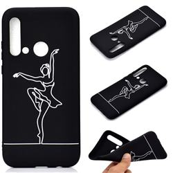 Dancer Chalk Drawing Matte Black TPU Phone Cover for Huawei P20 Lite(2019)