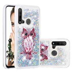 Seashell Owl Dynamic Liquid Glitter Quicksand Soft TPU Case for Huawei P20 Lite(2019)