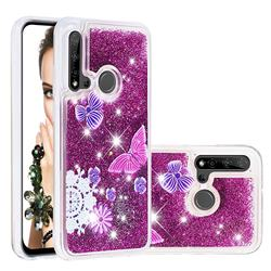 Purple Flower Butterfly Dynamic Liquid Glitter Quicksand Soft TPU Case for Huawei P20 Lite(2019)