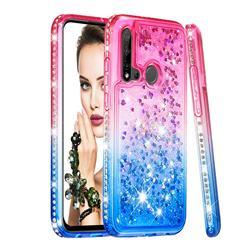 Diamond Frame Liquid Glitter Quicksand Sequins Phone Case for Huawei P20 Lite(2019) - Pink Blue
