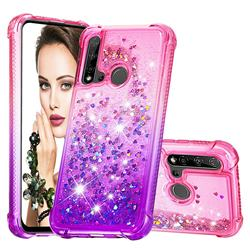 Rainbow Gradient Liquid Glitter Quicksand Sequins Phone Case for Huawei P20 Lite(2019) - Pink Purple