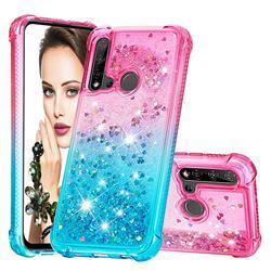 Rainbow Gradient Liquid Glitter Quicksand Sequins Phone Case for Huawei P20 Lite(2019) - Pink Blue