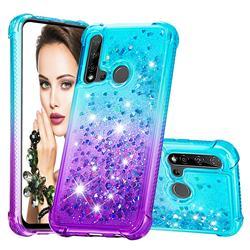 Rainbow Gradient Liquid Glitter Quicksand Sequins Phone Case for Huawei P20 Lite(2019) - Blue Purple