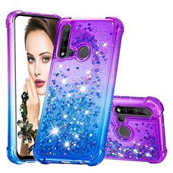 Rainbow Gradient Liquid Glitter Quicksand Sequins Phone Case for Huawei P20 Lite(2019) - Purple Blue