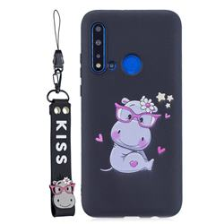 Black Flower Hippo Soft Kiss Candy Hand Strap Silicone Case for Huawei P20 Lite(2019)