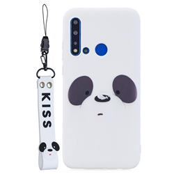 White Feather Panda Soft Kiss Candy Hand Strap Silicone Case for Huawei P20 Lite(2019)