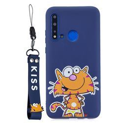 Blue Cute Cat Soft Kiss Candy Hand Strap Silicone Case for Huawei P20 Lite(2019)