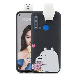 Big White Bear Soft 3D Climbing Doll Stand Soft Case for Huawei P20 Lite(2019)