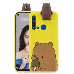 Brown Bear Soft 3D Climbing Doll Stand Soft Case for Huawei P20 Lite(2019)