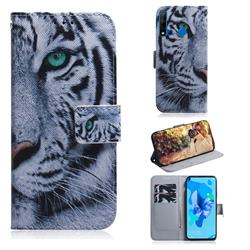 White Tiger PU Leather Wallet Case for Huawei P20 Lite(2019)