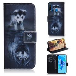 Wolf and Dog PU Leather Wallet Case for Huawei P20 Lite(2019)