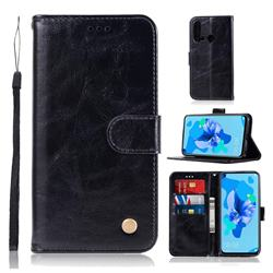 Luxury Retro Leather Wallet Case for Huawei P20 Lite(2019) - Black