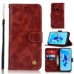 Luxury Retro Leather Wallet Case for Huawei P20 Lite(2019) - Wine Red