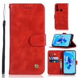 Luxury Retro Leather Wallet Case for Huawei P20 Lite(2019) - Red