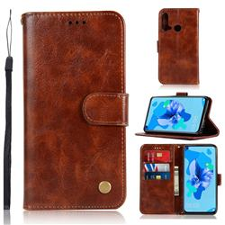 Luxury Retro Leather Wallet Case for Huawei P20 Lite(2019) - Brown