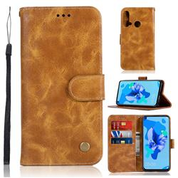 Luxury Retro Leather Wallet Case for Huawei P20 Lite(2019) - Golden