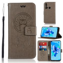 Intricate Embossing Owl Campanula Leather Wallet Case for Huawei P20 Lite(2019) - Grey