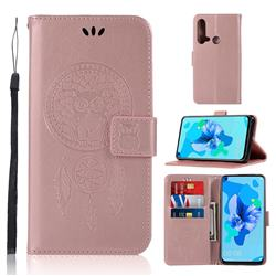 Intricate Embossing Owl Campanula Leather Wallet Case for Huawei P20 Lite(2019) - Rose Gold