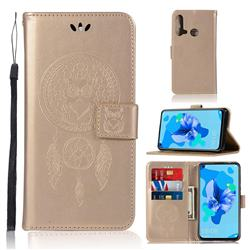 Intricate Embossing Owl Campanula Leather Wallet Case for Huawei P20 Lite(2019) - Champagne