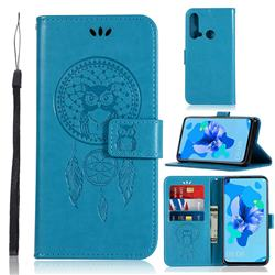 Intricate Embossing Owl Campanula Leather Wallet Case for Huawei P20 Lite(2019) - Blue