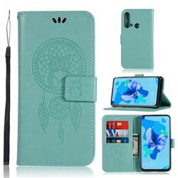 Intricate Embossing Owl Campanula Leather Wallet Case for Huawei P20 Lite(2019) - Green