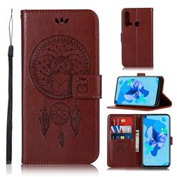 Intricate Embossing Owl Campanula Leather Wallet Case for Huawei P20 Lite(2019) - Brown