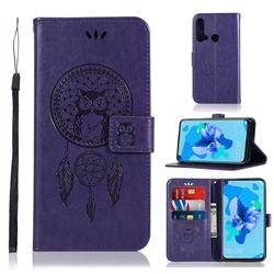 Intricate Embossing Owl Campanula Leather Wallet Case for Huawei P20 Lite(2019) - Purple