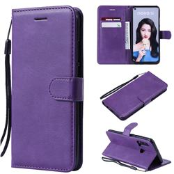 Retro Greek Classic Smooth PU Leather Wallet Phone Case for Huawei P20 Lite(2019) - Purple