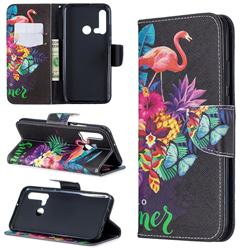 Flowers Flamingos Leather Wallet Case for Huawei P20 Lite(2019)
