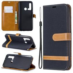 Jeans Cowboy Denim Leather Wallet Case for Huawei P20 Lite(2019) - Black