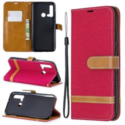 Jeans Cowboy Denim Leather Wallet Case for Huawei P20 Lite(2019) - Red