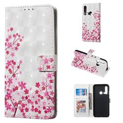 Butterfly Sakura Flower 3D Painted Leather Phone Wallet Case for Huawei P20 Lite(2019)