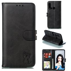 Embossing Happy Cat Leather Wallet Case for Huawei P20 Lite(2019) - Black