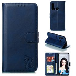 Embossing Happy Cat Leather Wallet Case for Huawei P20 Lite(2019) - Blue