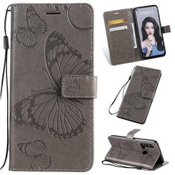 Embossing 3D Butterfly Leather Wallet Case for Huawei P20 Lite(2019) - Gray
