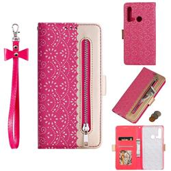 Luxury Lace Zipper Stitching Leather Phone Wallet Case for Huawei P20 Lite(2019) - Rose