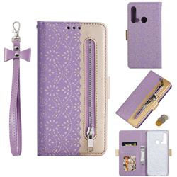 Luxury Lace Zipper Stitching Leather Phone Wallet Case for Huawei P20 Lite(2019) - Purple
