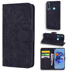 Retro Embossing Mandala Flower Leather Wallet Case for Huawei P20 Lite(2019) - Black