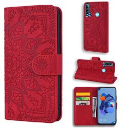 Retro Embossing Mandala Flower Leather Wallet Case for Huawei P20 Lite(2019) - Red