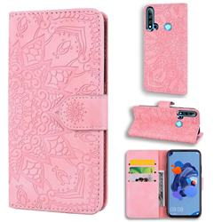 Retro Embossing Mandala Flower Leather Wallet Case for Huawei P20 Lite(2019) - Pink