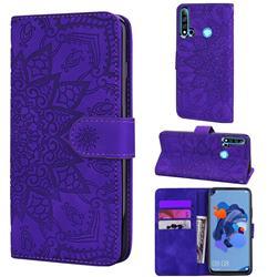 Retro Embossing Mandala Flower Leather Wallet Case for Huawei P20 Lite(2019) - Purple